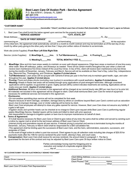 lawn care contract template maintenance agreements