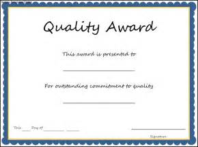 quality award certificate template sle templates