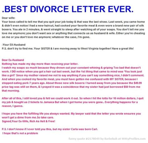 Best Divorce Letter Dear Best Divorce Letter Dear Your Called To Tell Me That You Quit Your Today