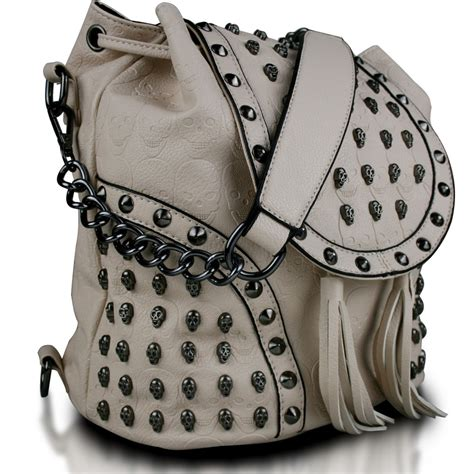 l1414 miss lulu skull studded backpack shoulder bag beige
