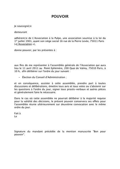 Exemple De Lettre De Procuration Vote modele lettre de procuration vente immobiliere