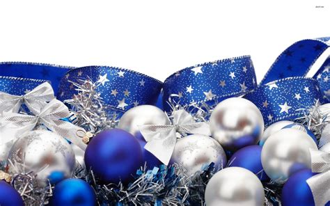 blue and silver christmas ornaments wallpaper