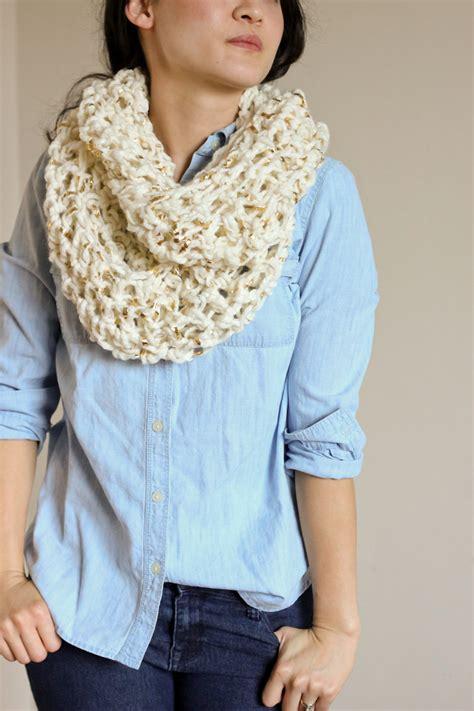 scarf pattern chunky yarn metallic laced chunky crochet infinity scarf free