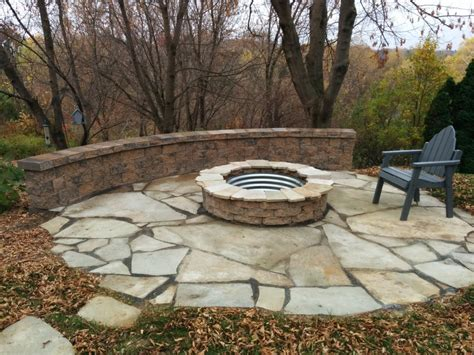 Flagstone Patio With Firepit Outdoor Pits Great Goats Landscapinggreat Goats Landscaping