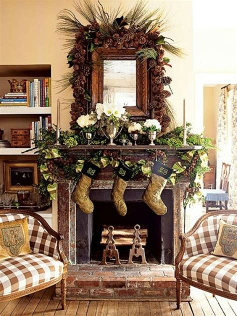 country christmas mantel holiday seasonal ideas