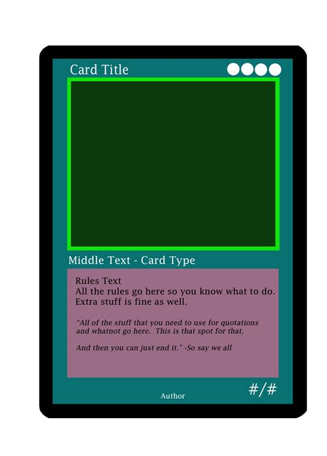 Magic The Gathering Card Template Png by 8 Bit Child Literary Magic The Gathering Cards