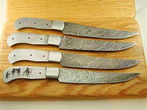 Handmade Steak Knives - set of 4 custom steak knife damascus blank knifemakin g