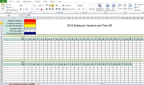 employee vacation planner template employee vacation tracking excel template 2015 excel tmp
