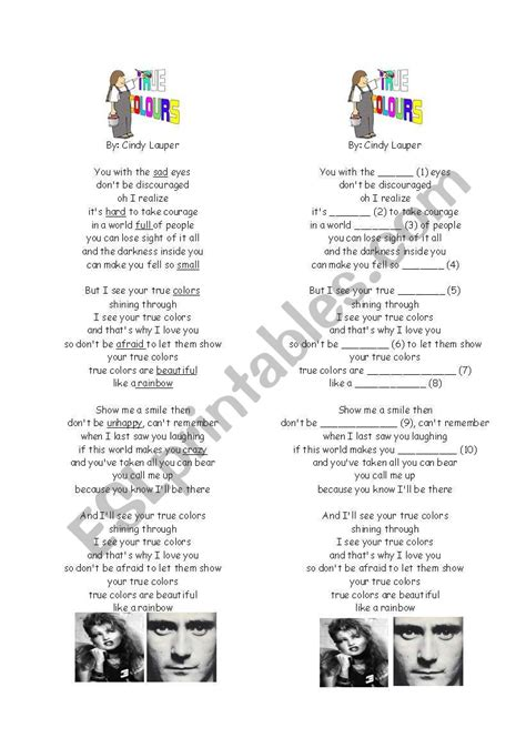 true colors activity worksheets true colors song lyrics and activity sheet