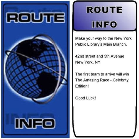 Route Card Template Scouts by Amazing Race Route Info Search Reading