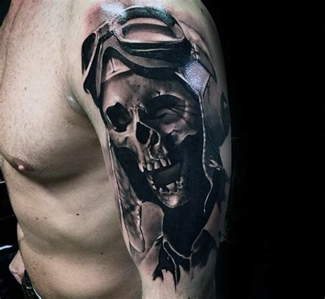 shaded skull tattoo designs black and grey shaded fighter pilot skull on