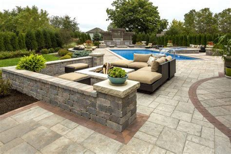 Brick Patio Wall Pool Deck And Patio Built With Beacon Hill Flagstone Paver