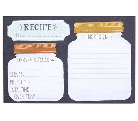jar recipe card template your kitchen is calling out for these adorable illustrated