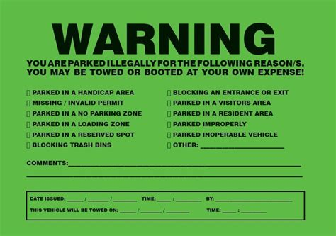 light parking tickets 10 parked illegally towing impound warning sign