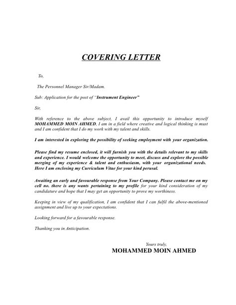 Cover Letter For For Freshers Engineer Instrumentation Engineer