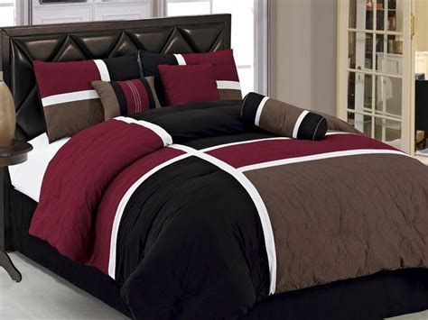full size bed in a bag 7pcs burgundy brown black quilted patchwork bed in a bag