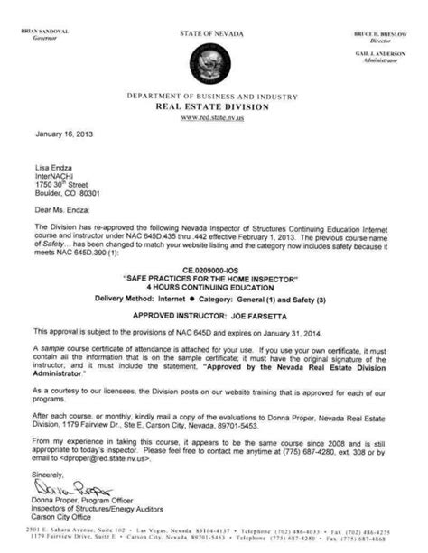 Service Upgrade Letter How To Become A Certified Home Inspector In Nevada Internachi