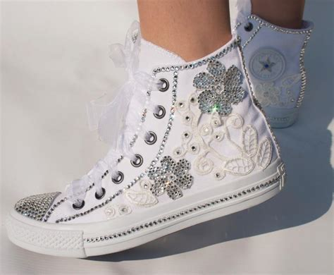 Wedding With Converse by Wedding Converse High Top Wedding Trainers With