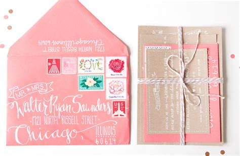 julie s kraft and coral wedding invitations