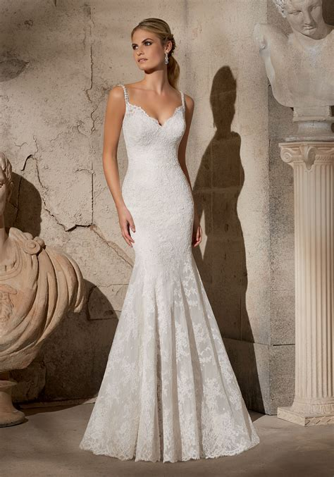 wedding dress beaded straps alencon lace with beaded straps morilee