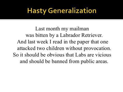 exle of hasty generalization fallacy lecture slippery slope ad hominem hasty