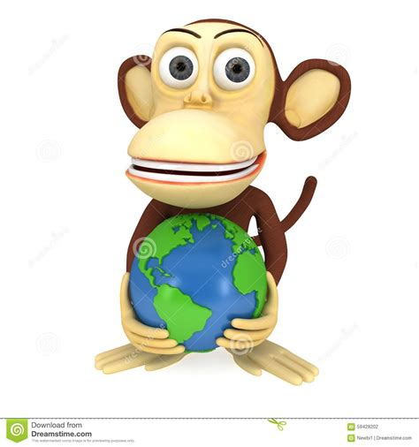 3d funny monkey with earth globe stock illustration