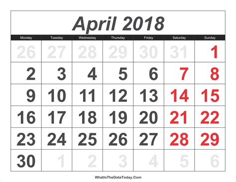 2018 calendar april with large numbers
