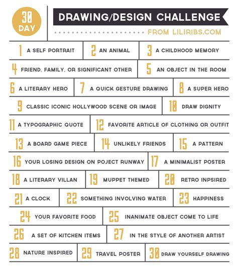 doodle list 100 30 day drawing and design challenge by liliribs on deviantart