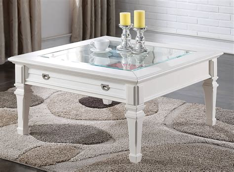 acme furniture adalyn coffee table acme furniture adalyn modern white glass top coffee table