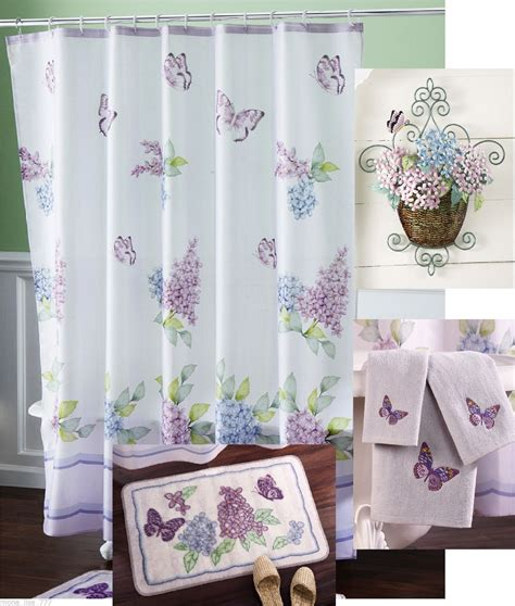 New purple flower butterfly shower curtain bath set rug towels wall