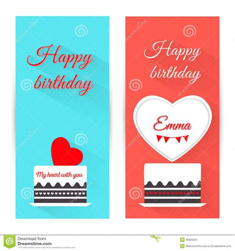 Flat Happy set of vertical birthday greeting banner with cake flat design stock vector image 46925641