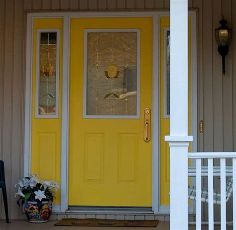 Yellow Front Door Yellow Front Door With Sidelights Painted To Match For The Home Beautiful