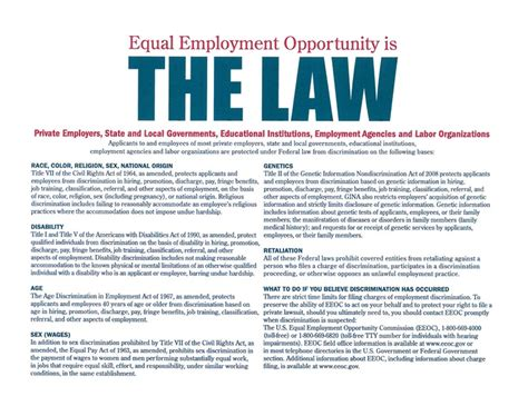printable eeoc poster eeoc poster free from the federal department of labor 2
