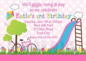 printable birthday invitations girls park party