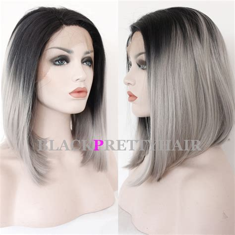gray hair ombre gray bob wig synthetic lace front