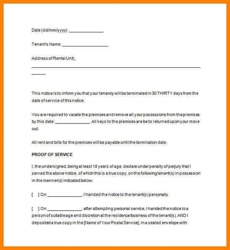 30 day rental notice template 13 template notice to vacate rental property g unitrecors