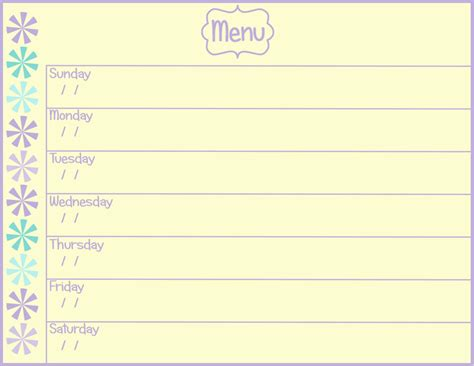 printable menu templates printable weekly menu planner new calendar template site