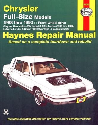 service manual car maintenance manuals 1993 chrysler lebaron spare parts catalogs service new yorker fifth avenue lebaron dynasty repair manual 1988 1993