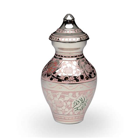 Hodie Cat 2w Grey Pink brass cremation urn in pink and silver colors with butterflies keepsake b 1689 k p our urn