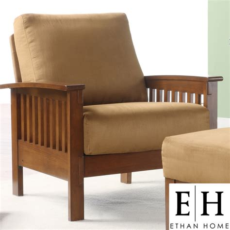 Ethan Home Hills Mission Style Oak And Rust Microfiber Mission Style Living Room Chairs