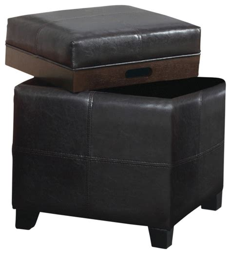 Brown Ottoman With Tray Faux Leather Storage Ottoman With Reversible Tray Brown Transitional Footstools And