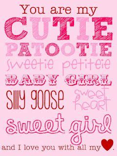 Printable Daughter Quotes | cutie patootie valentine for my daughter free printable