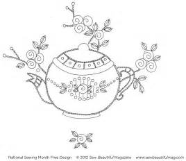 free embroidery templates sew beautiful free daily design vintage teapot