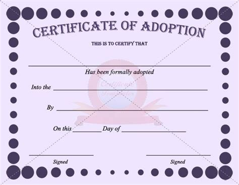 templates for adoption certificates 42 best images about adoption certificate templates on
