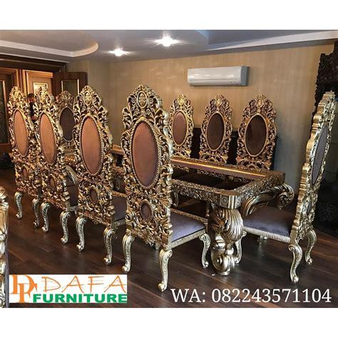 Kursi Meja Makan Ukir Mewah Jepara set meja kursi makan ukir jepara klasik mewah terbaru gold