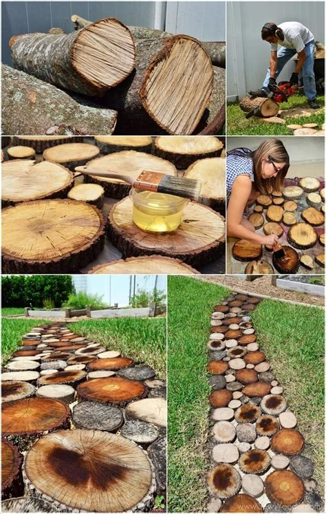 ideas  decorate  garden   fallen tree  logs