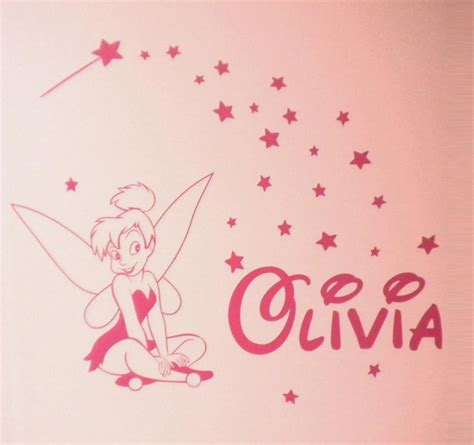 tinkerbell wall sticker tinkerbell with custom name personalised removable