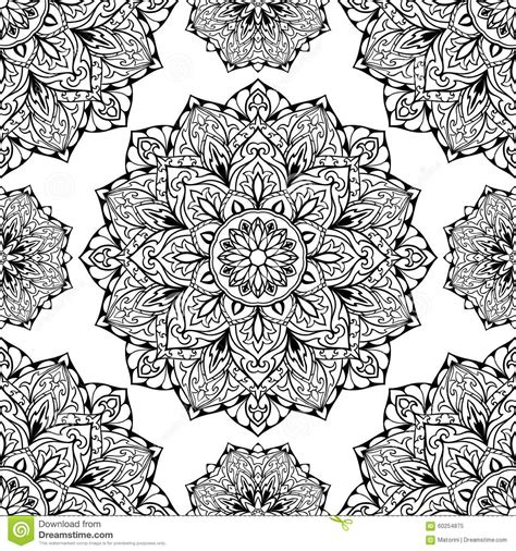 Mosaic Rug Tile Oriental Black And White Ornament Stock Vector Image