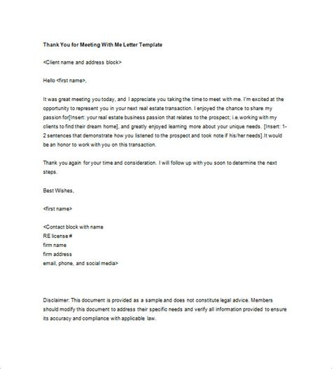 thank you letter after meeting a prospective client sle thank you letter to potential client cover letter