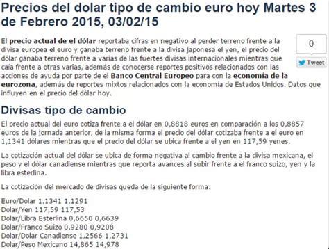 precio del dolar precio del dolar y tipo de cambio al precio del dolar euro tipo de cambio hoy martes 3 de